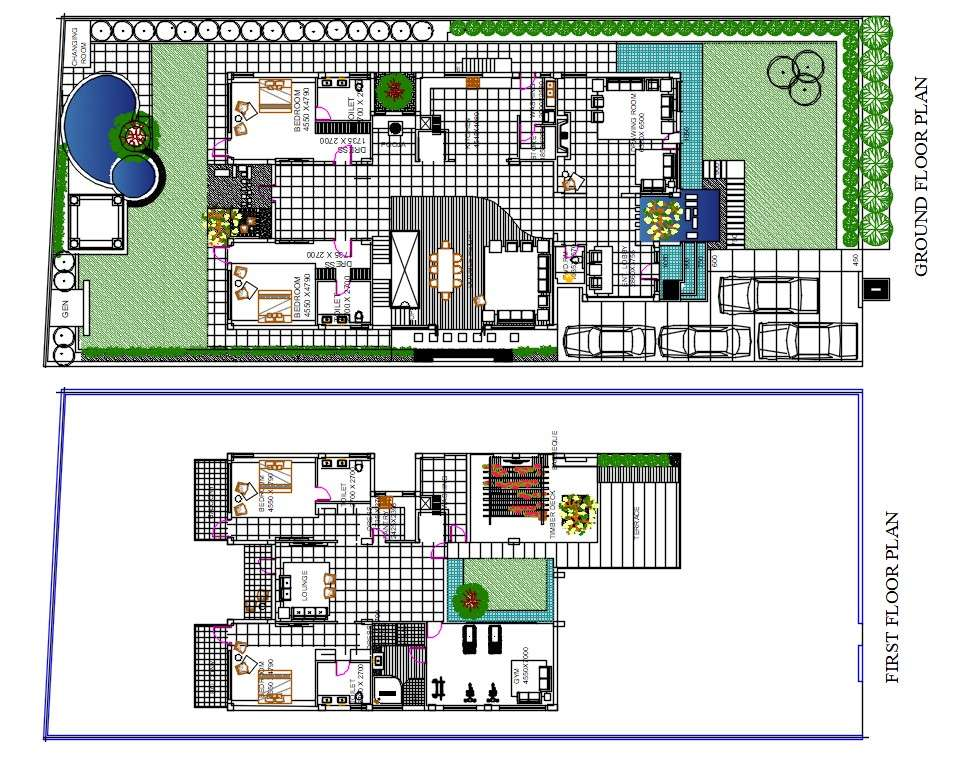 House Plan With Swimming Pool And Garden Design Autocad File Cadbull