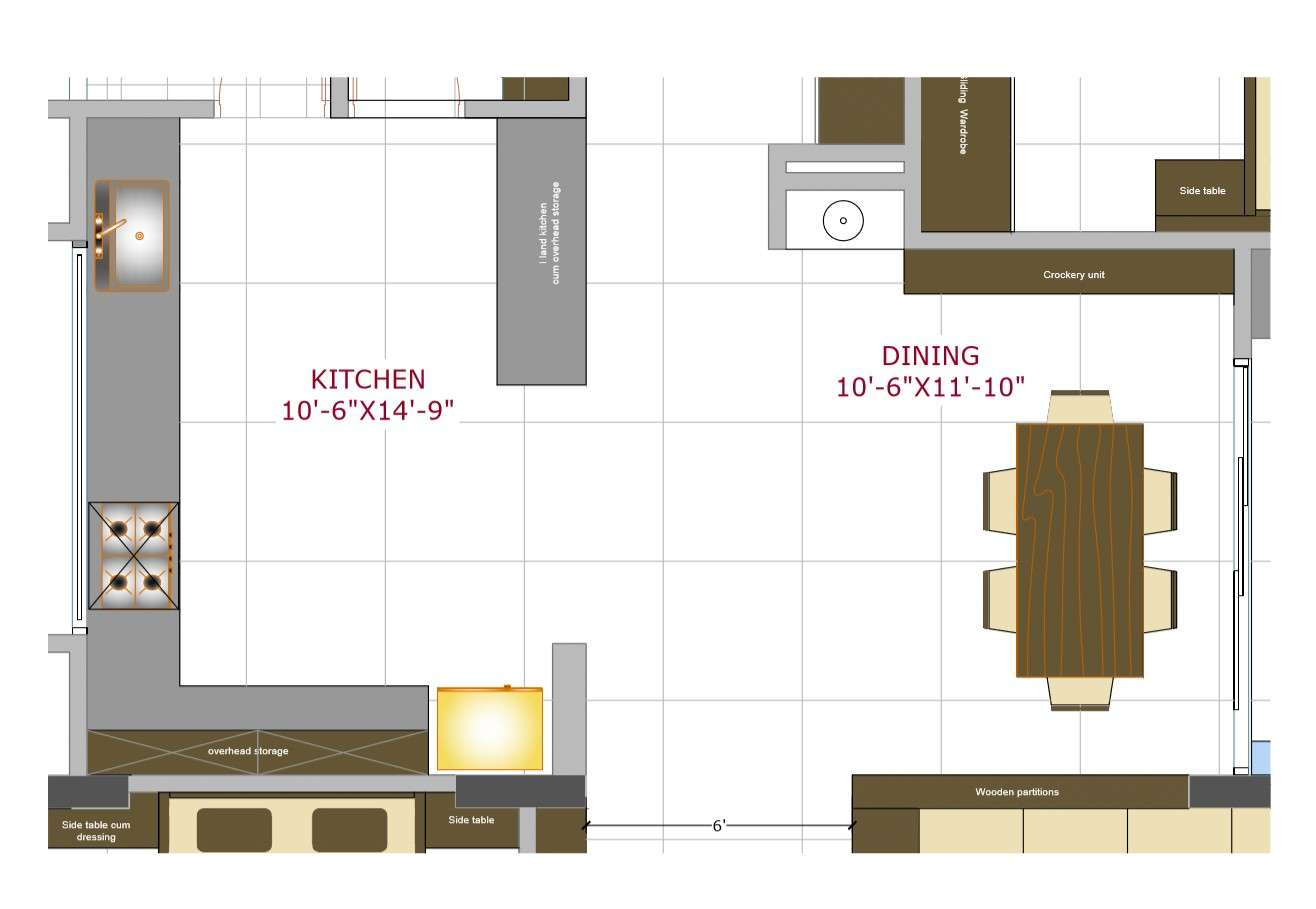 House kitchen layout plan cad drawing details pdf file   Cadbull