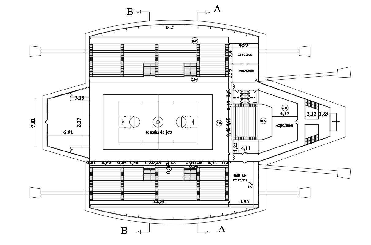 Indoor Tennis Court Design Dwg File Free Download Cadbull