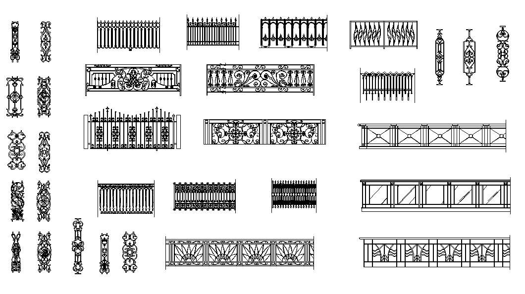 Iron railing design dwg file - Cadbull