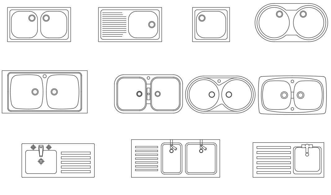 kitchen sink autocad blocks drawing