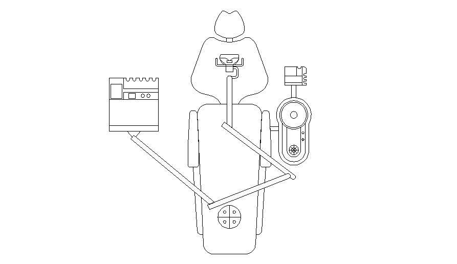 Medical equipment patient chair top view elevation cad ...