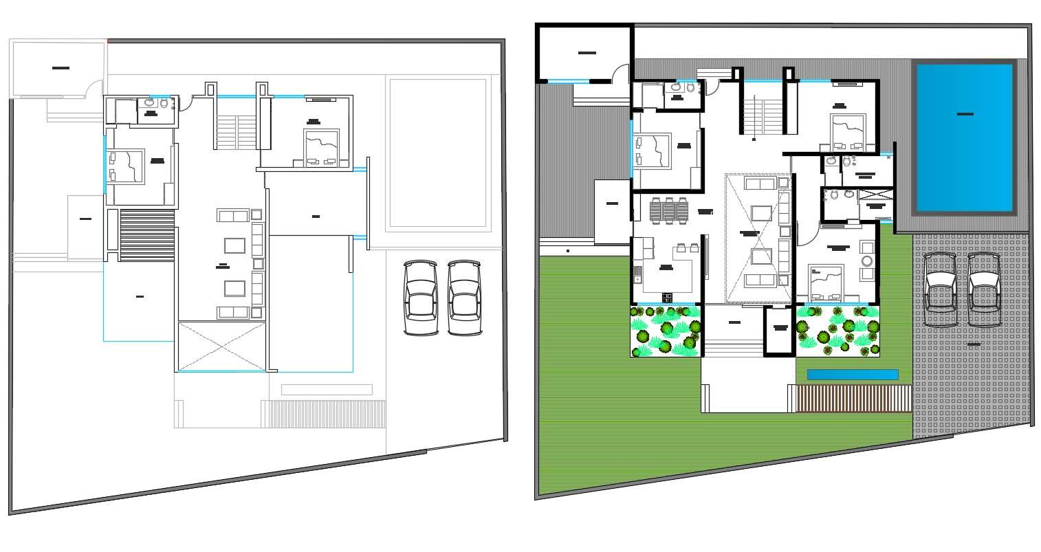 Modern Bungalow Layout Plan With Swimming Pool And Garden Design Dwg File Cadbull
