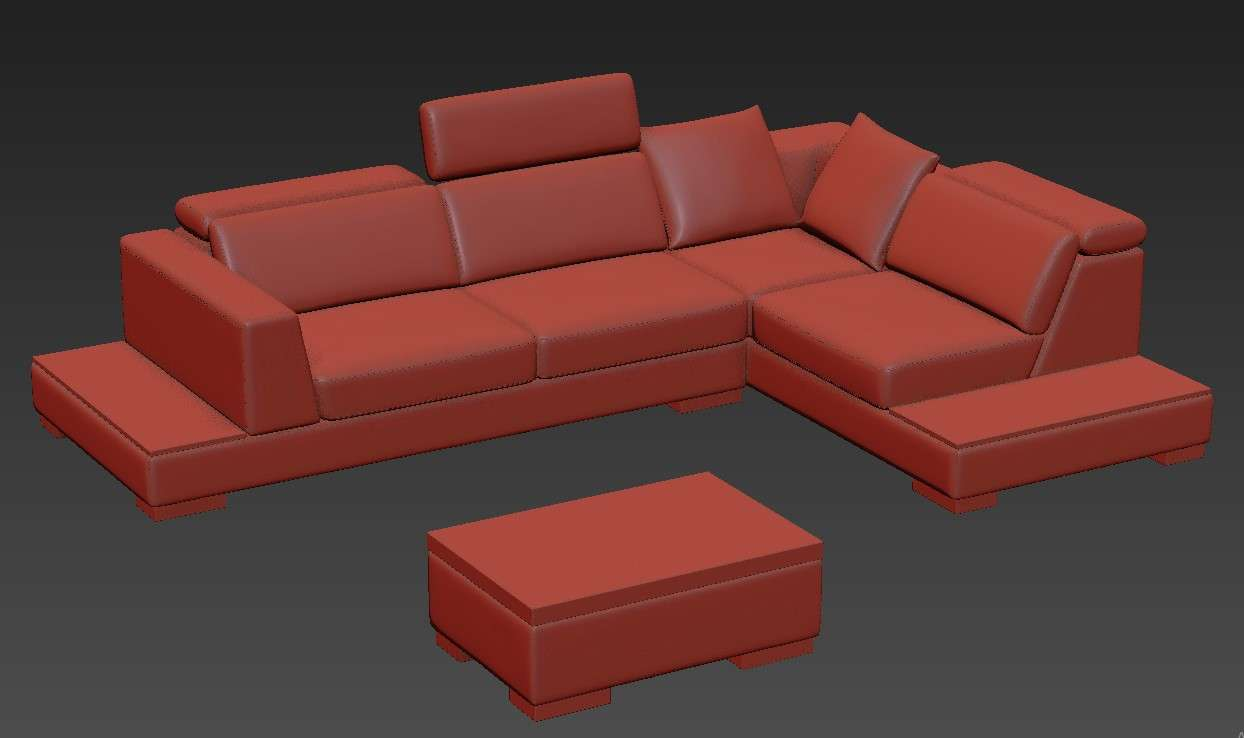 Modern L Shape Sofa Cum Bed With Center Table 3D Model ...