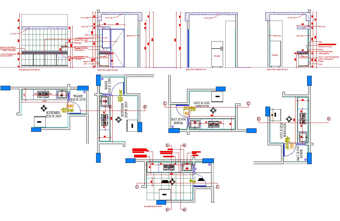Modular Kitchen layout plan and elevation design   Cadbull
