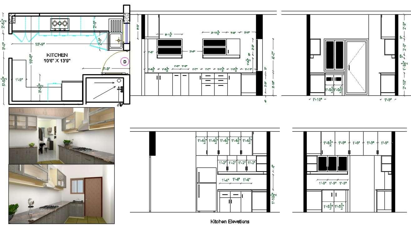 Modular Kitchen Plan And Interior Elevation Design Autocad File Cadbull
