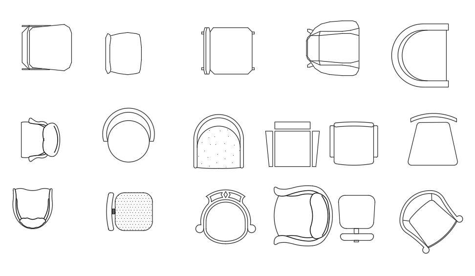 Multiple Chair CAD Blocks Top View Drawing Free Download ...