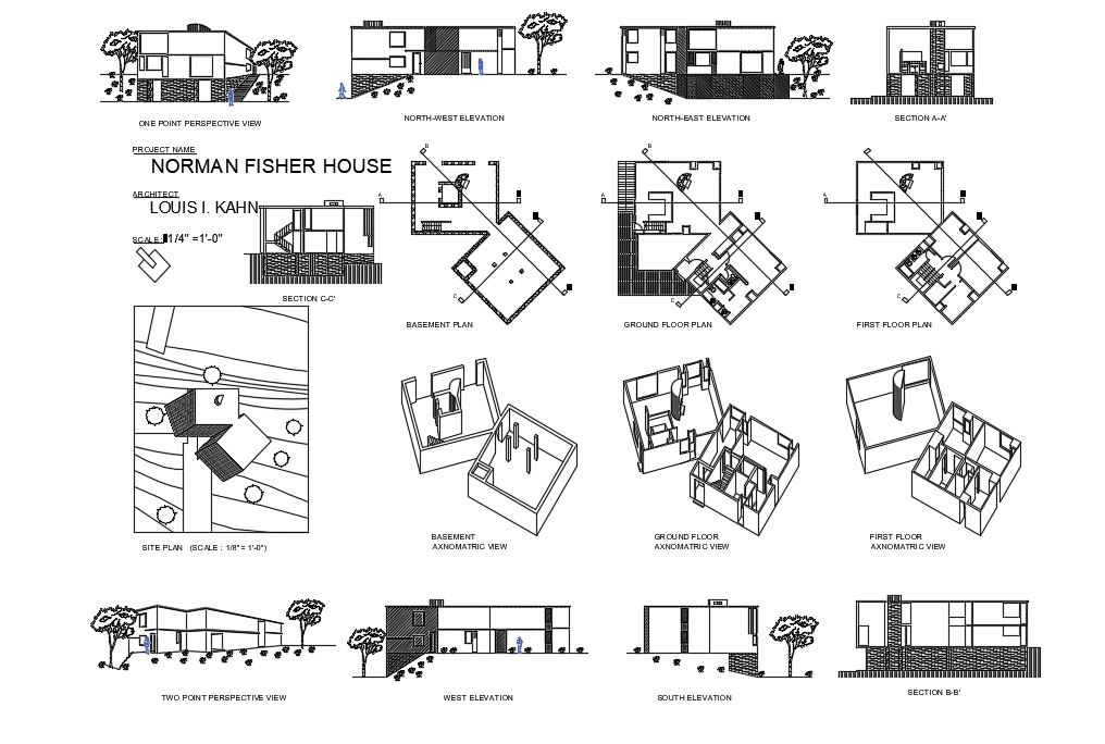 Fisher House Dwg Norman Fisher House Dwg File Cadbull