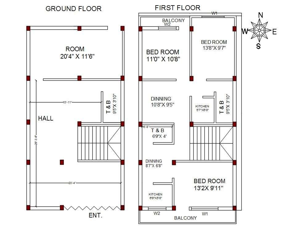 North Facing 3 BHK House Plan AutoCAD File  Cadbull