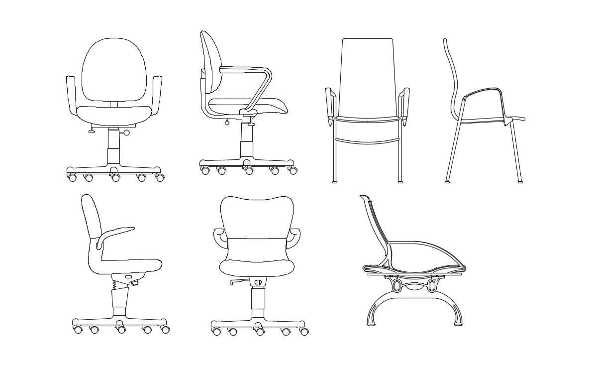 Office Chair CAD Block - Cadbull