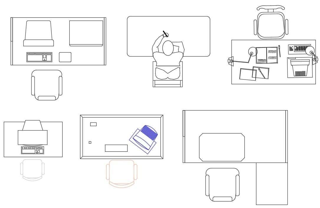 Office Computer Work Desk CAD Blocks DWG File - Cadbull