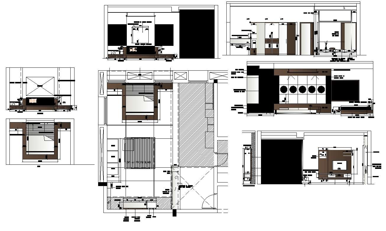 Plan And Elevation Of Bedroom Interior 2d View Cad Block Layout File In Autocad Format Cadbull