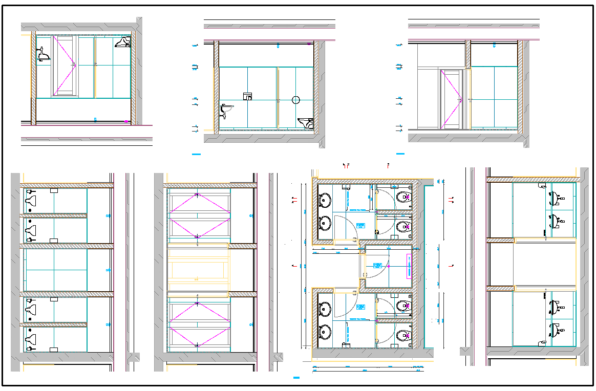 Public Toilet layout plan dwg file - Cadbull