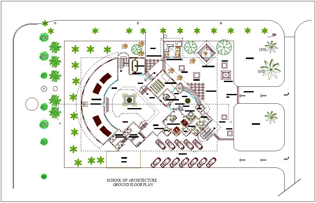 School Of Architecture Ground Floor Plan Dwg File Cadbull
