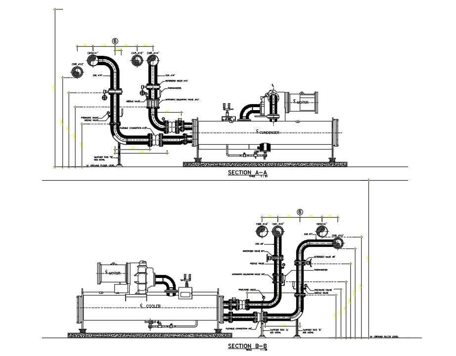 Section details of chiller plant room of hospital building ...