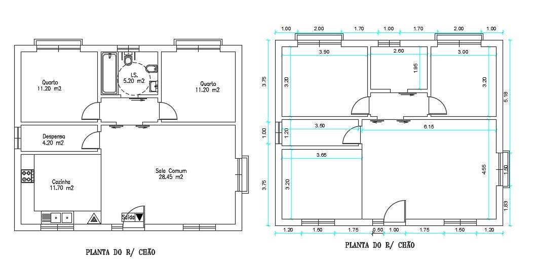 Simple Two Bedroom House Plans With Dimension Cadbull