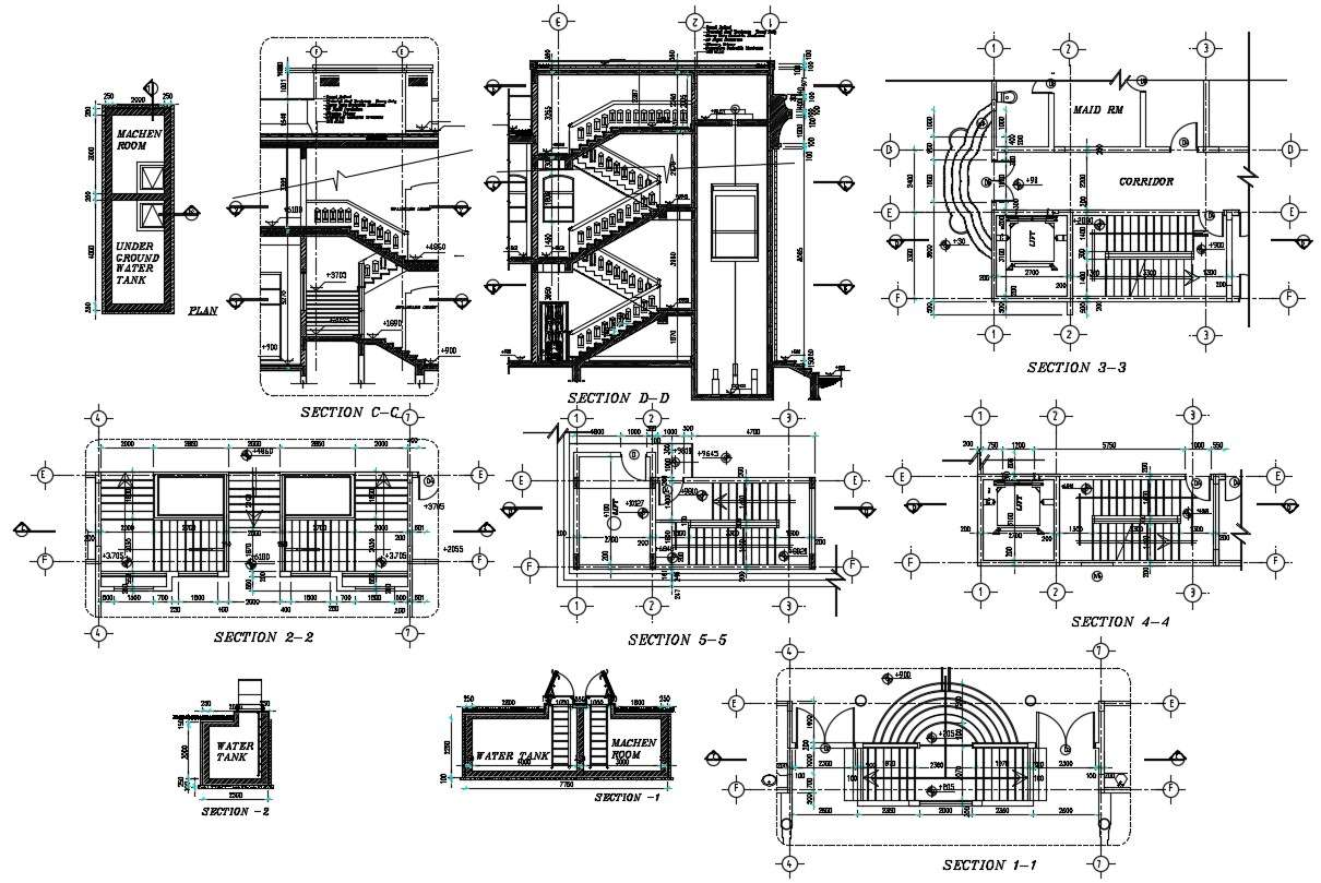 Staircase And Lift Detail Dwg File Cadbull