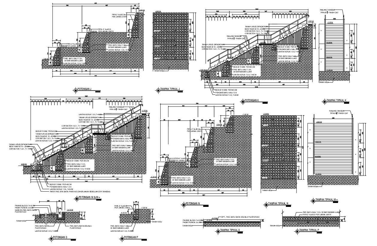 Staircase With Wall Elevation Design CAD Drawing - Cadbull