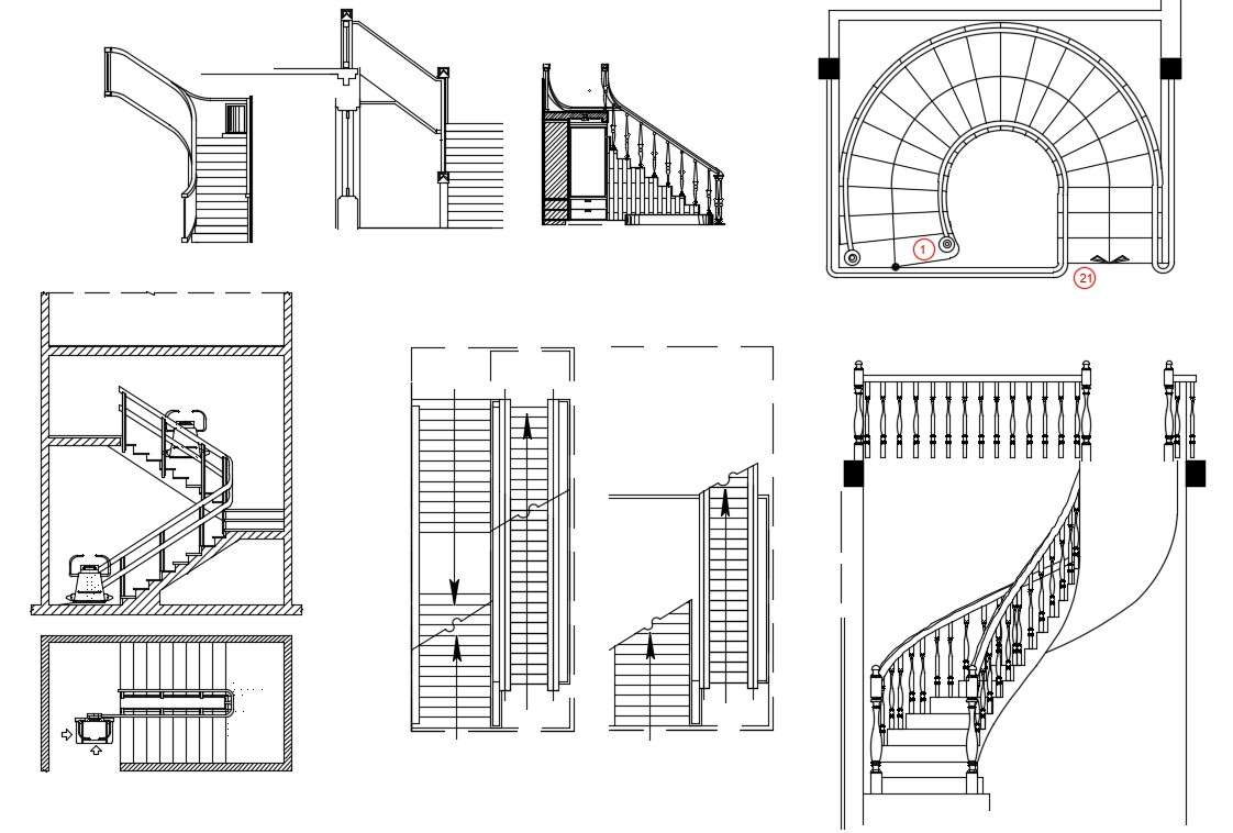 Stairway Plan and Elevation Design 2d AutoCAD drawing ...