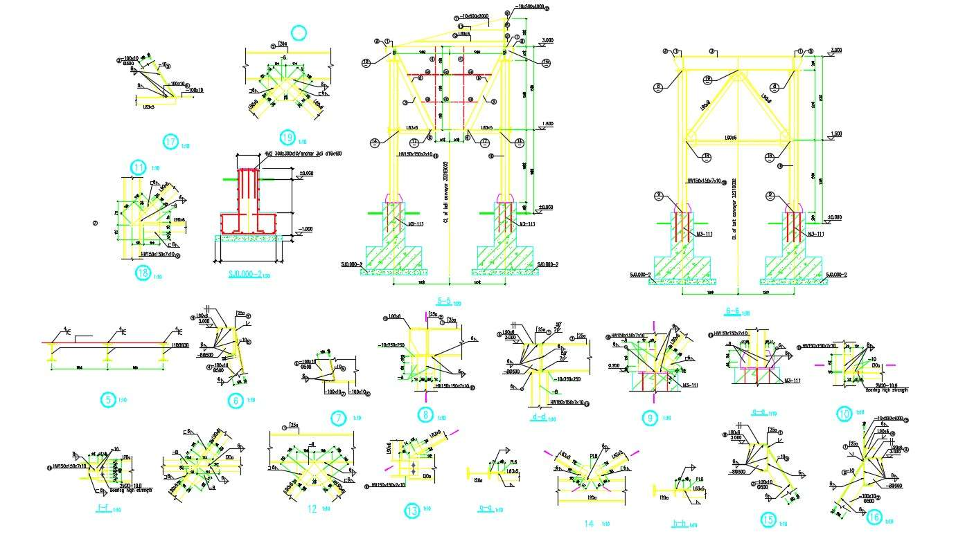 Steel Column Footing Foundation Design And Construction Autocad File Cadbull
