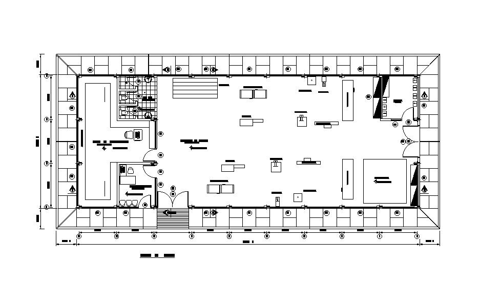 The Commercial Office Building Floor Plan Drawing Separated In This File Download This 2d Autocad Drawing File Cadbull