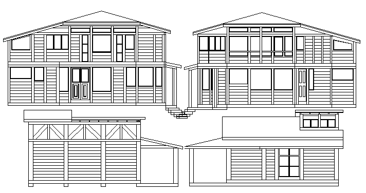 Tiny House Architecture Design And Elevation Dwg File Cadbull