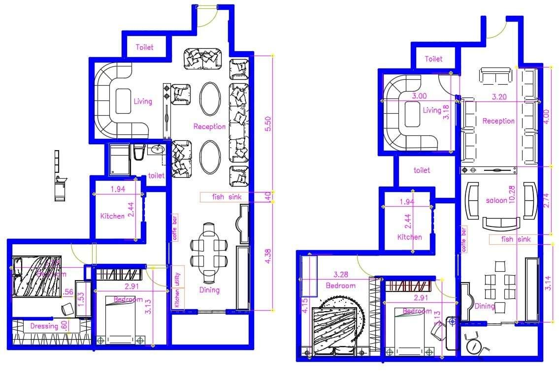 Two Storey House Plan with Balcony - Cadbull