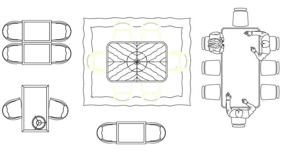 Unique Dining Table Design Top View Free CAD Blocks - Cadbull