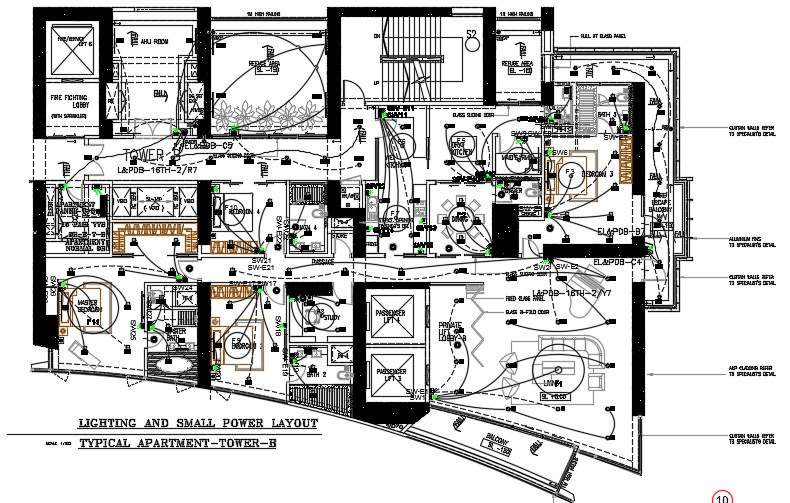 Villa House Electrical Wiring Installation Layout Plan Autocad File Cadbull