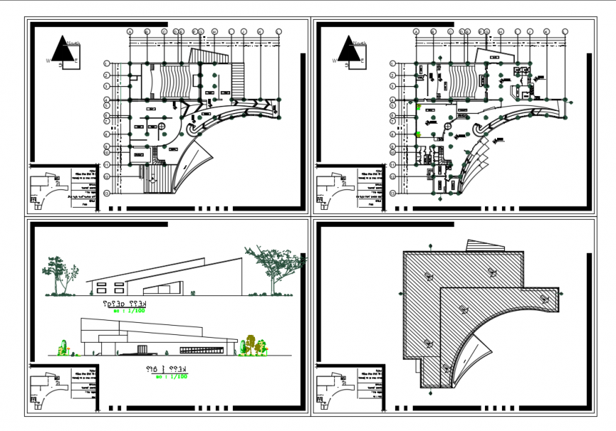 Art Gallery Front And Back Elevation With Floor Plan Layout Details Dwg File Cadbull