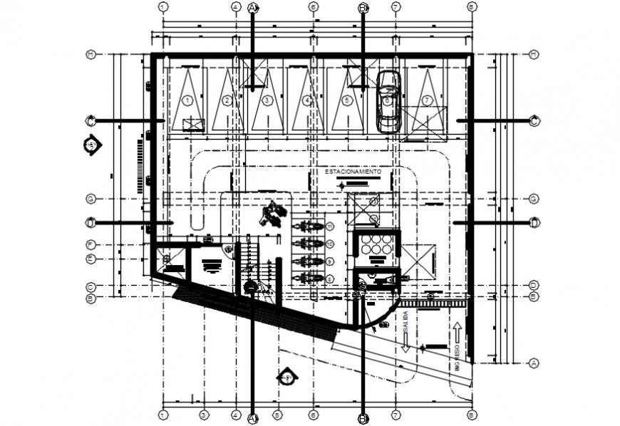 Basement Car Parking Floor Plan Details Of Apartment Building Dwg File Cadbull