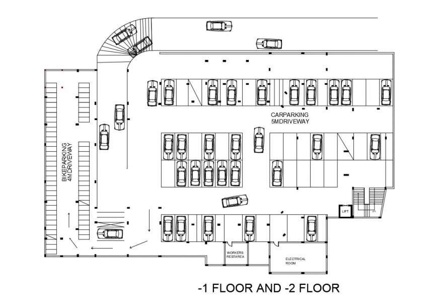 Basement Floor Parking Lot Floor Plan Of Civic Center Dwg File Cadbull