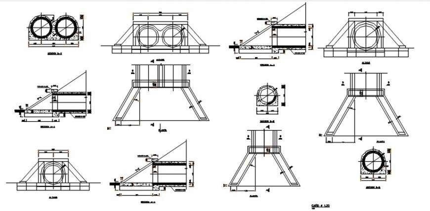 Drainage Sewer Sections And Plumbing Structure Details Dwg File