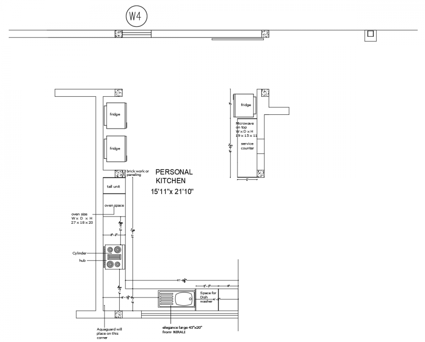 Drawing Of The 2d Interior Design Of Kitchen Autocad File Cadbull