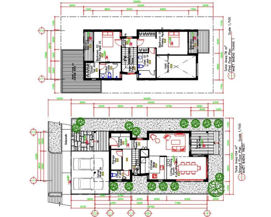 Duplex House Ground And First Floor Distribution Plan Cad Drawing Details Dwg File Cadbull