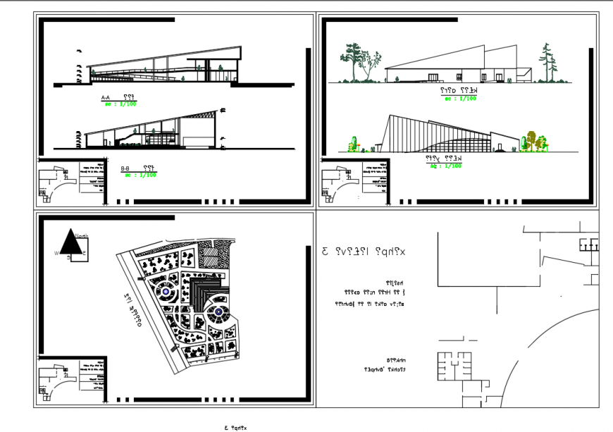 Front And Back Elevations And Section Details Of Art Gallery With Layout Plan Dwg File Cadbull