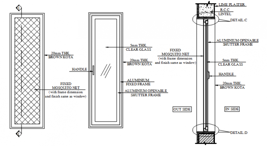 Glassdoor Blocks 2d View Elevation And, Fixed Glass Window Detail Cad