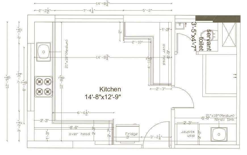 house common kitchen layout plan with dimensions cad