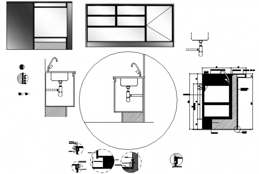 Kitchen cabinet and sink installation drawing details dwg ...