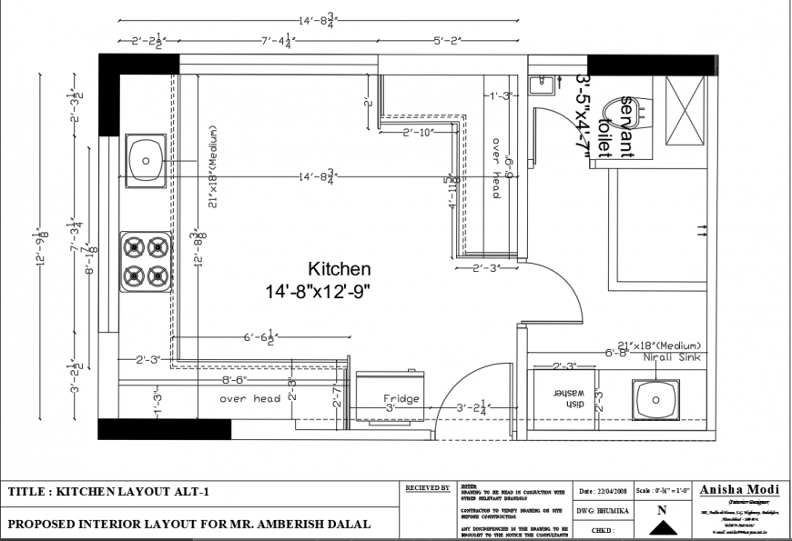Kitchen Layout Drawing Of The House In Dwg Autocad File Cadbull