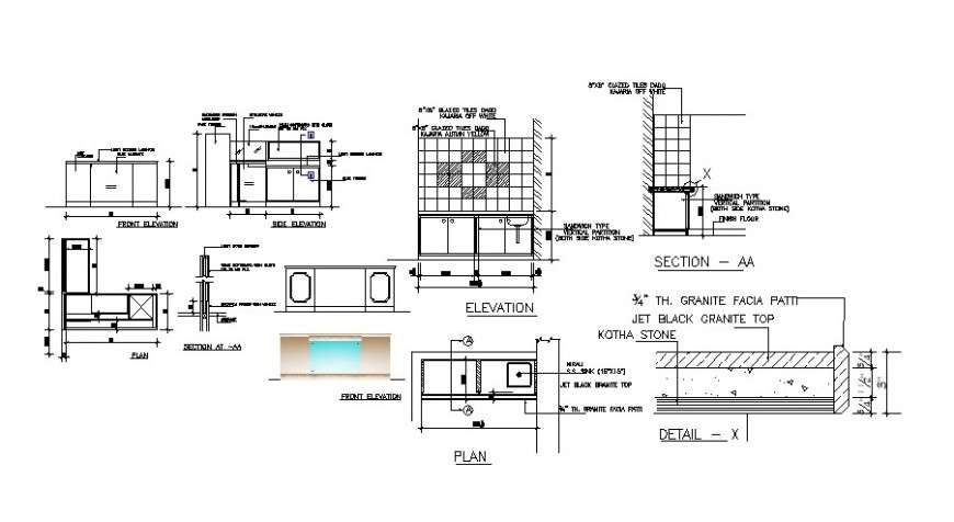 Kitchen Sink Section Installation And Plumbing Structure Details Dwg File Cadbull