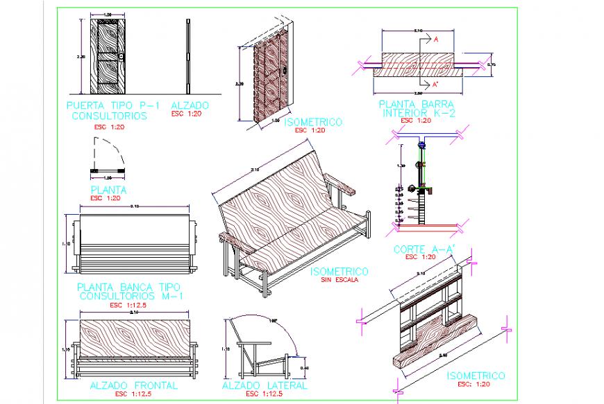 Making Sofa detail Plan & Elevation & Section Design - Cadbull
