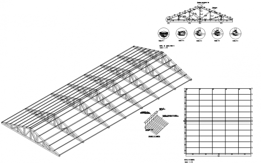 Metal Roof Structure Perspective Drawing In Dwg Autocad File Cadbull