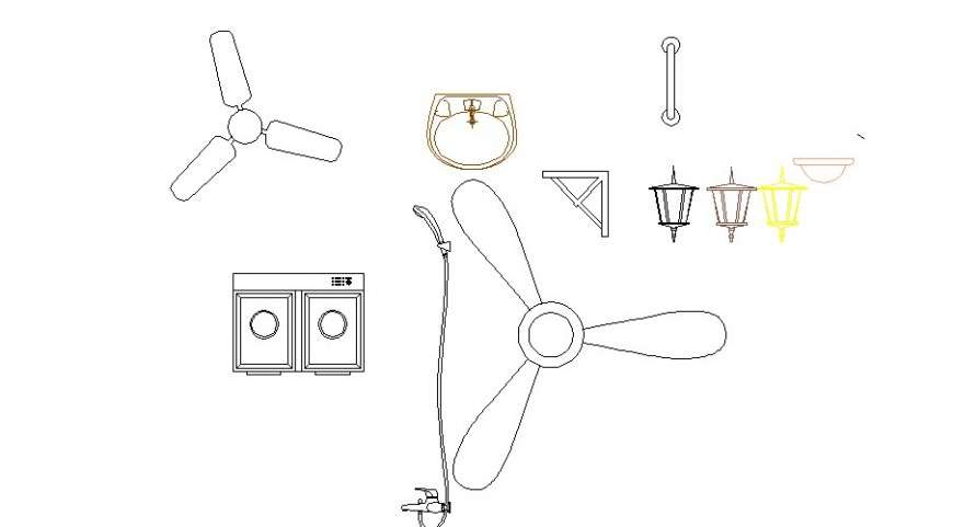 multiple ceiling fans and household blocks cad drawing
