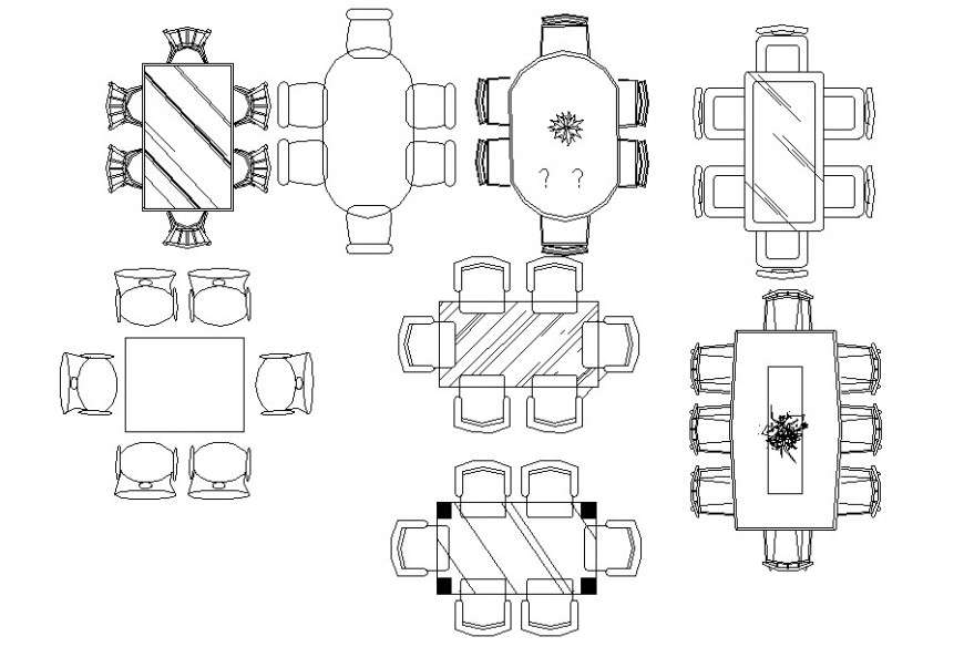 Multiple dining table elevation blocks for hotel cad ...