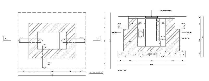 Section And Plan For Grease Trap Cad Drawing Details Dwg File