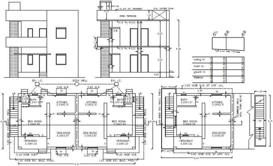 Simple House Elevation Section And Floor Plan Cad Drawing Details Dwg File Cadbull
