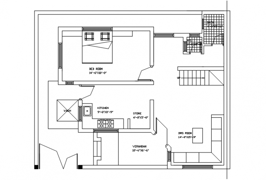 Simple House With One Bedroom Layout Plan Cad Drawing Details Dwg File Cadbull