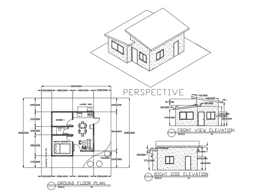 Small House Left Right And Perspective Elevation With Ground Floor Plan Details Dwg File Cadbull