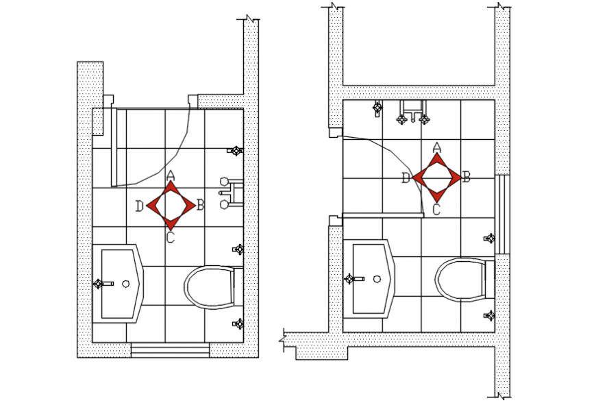 Small Toilet Two Plans And Sanitary Installation Details Dwg File Cadbull